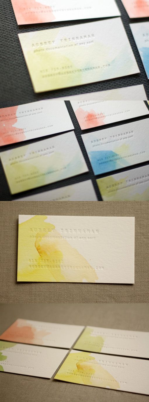 Creative Personalised Watercolour Letterpress Business Card Design| CardObserver