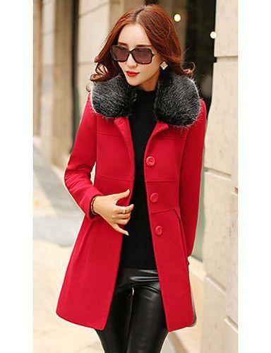Mujer Diario Chic de Calle Invierno Regular Abrigo 06a89cca85d9