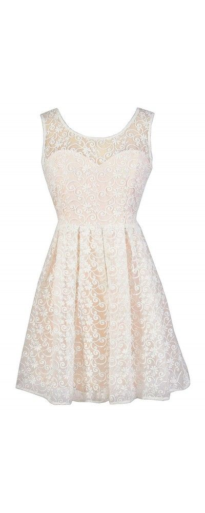 Floral Flourish Champagne and Ivory Embroidered Overlay Dress
