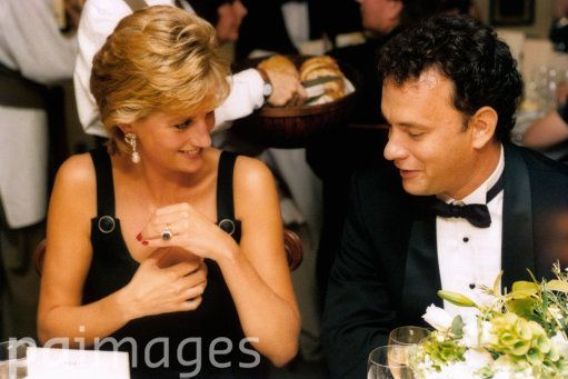 "September 14, 1995: Princess Diana and Tom Hanks at the movie premiere, ""Apollo 13"" in London."