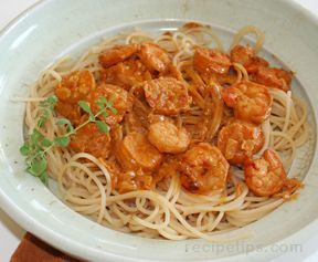 Pasta with Shrimp in Creamy Paprika Sauce Recipe from RecipeTips.com!
