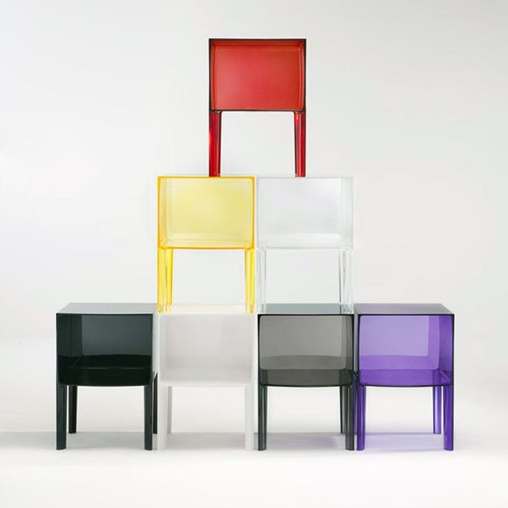 Designed by Phillipe Starck, the Ghost Buster can be used as a nightstand, side table, or end table. The Ghost Buster is defined by its straight lines and large square top that can be used to store books, picture frames, and other small accessories. The Ghost Buster has four slim legs that support the open cube, giving the table both a sturdy, sculptural look and a sense of openness and lightness. The table is made from transparent or batch-dyed PMMA plastic, and is a flexible option for…