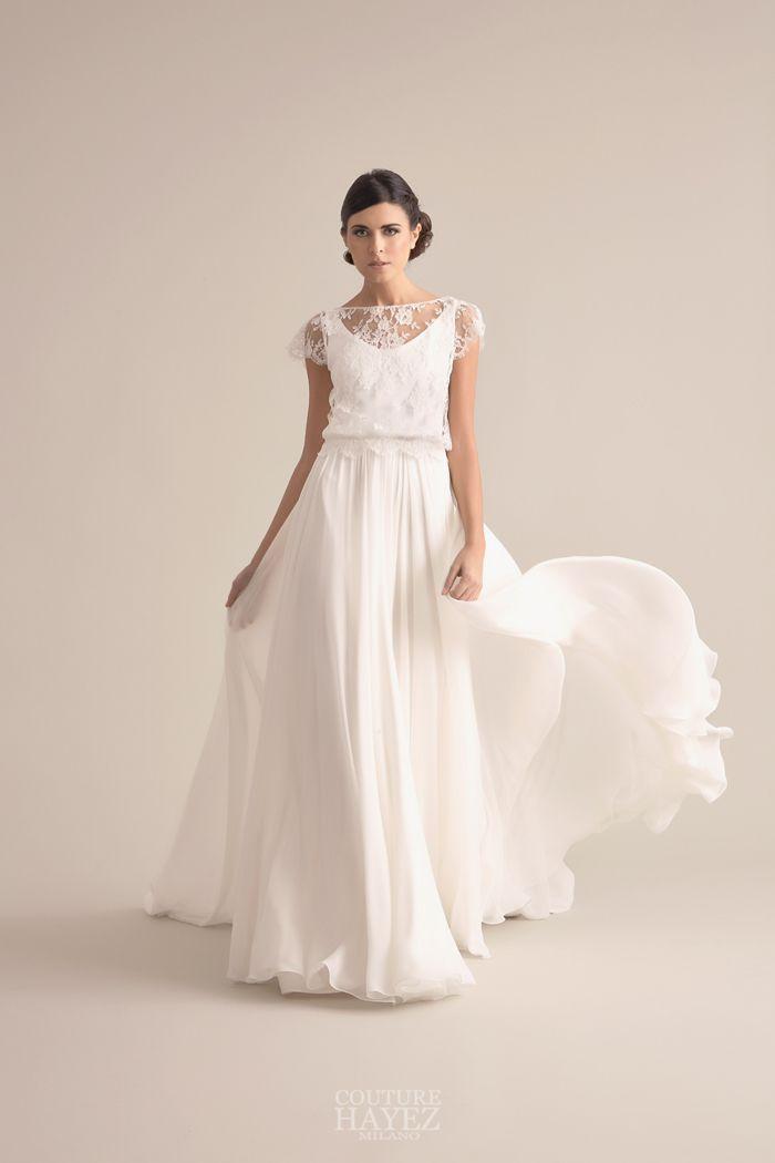 b72ca07111c6 Elegante abito da sposa in pizzo francese con ampia gonna di georgette