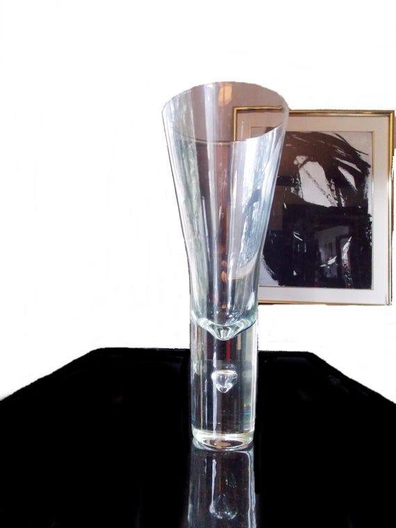 Tall Scandinavian Modernist Clear Art Glass Vase Modern Art Glass Vase Large Vase Glass Art