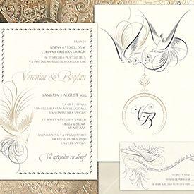 Invitație de nuntă elegantă și exotică, de o finețe deosebită, inspirată de caligrafia franceză din sec. XIX - yorkdeco.ro