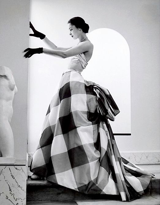 Silk dress by Pierre Balmain for the summer 1952 collection, photo by Andre Ostier, Harper's Bazaar