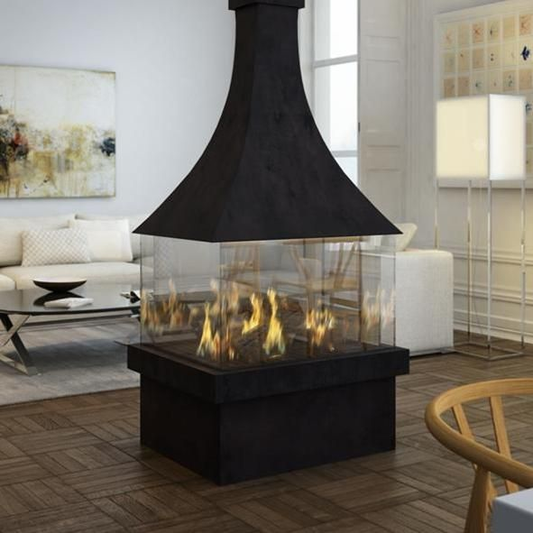 Ortal Ortal Island 80 Modern Canopy Gas Fireplace For