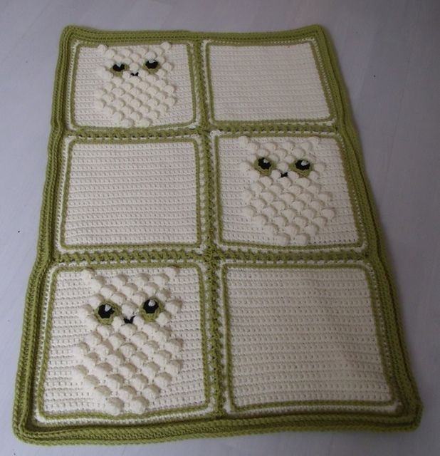 Ravelry: Blanket with Bobble Owl pattern by Thomasina Cummings Designs $2.50 download