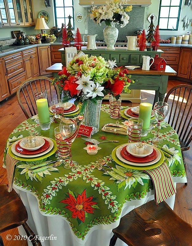 vintage poinsettia images | Fiesta. Glassware and napkins ...