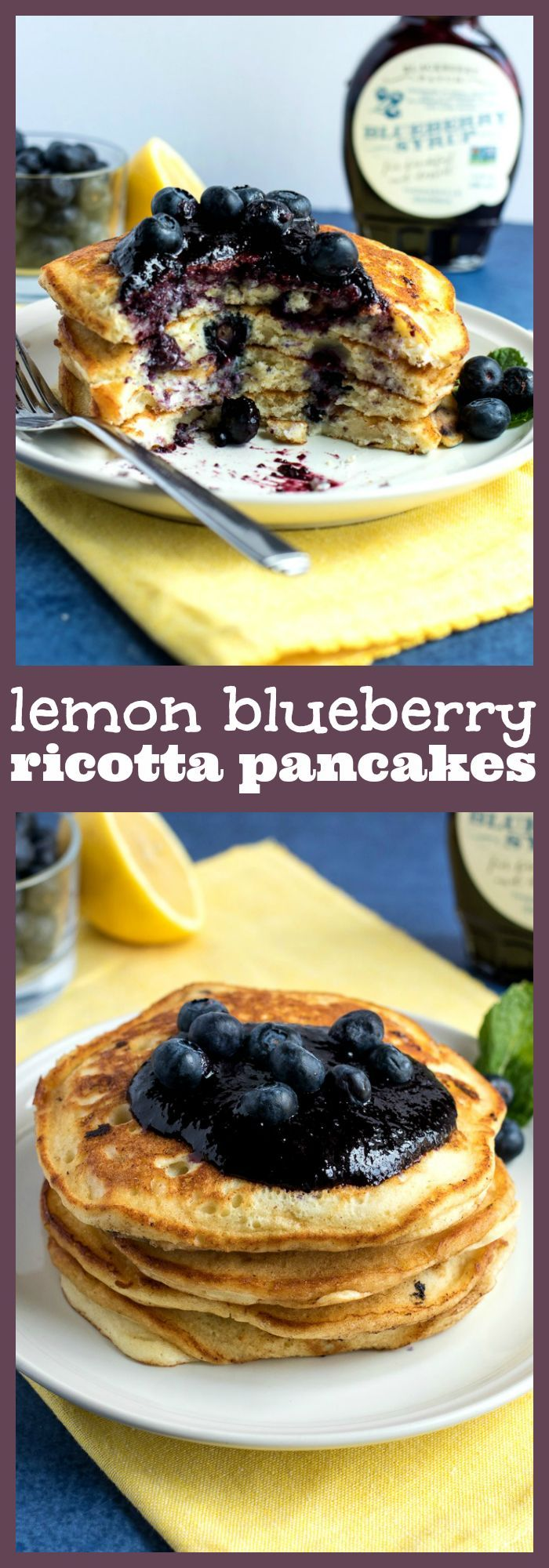 Lemon Blueberry Ricotta Pancakes – Homemade pancakes are given the gourmet treatment with the addition of fresh lemon zest, blueberries, and creamy ricotta cheese. Served with blueberry syrup for an added punch of flavor. #recipe #brunch #pancakes #breakfast #blueberry #lemon #Easter #mothersday