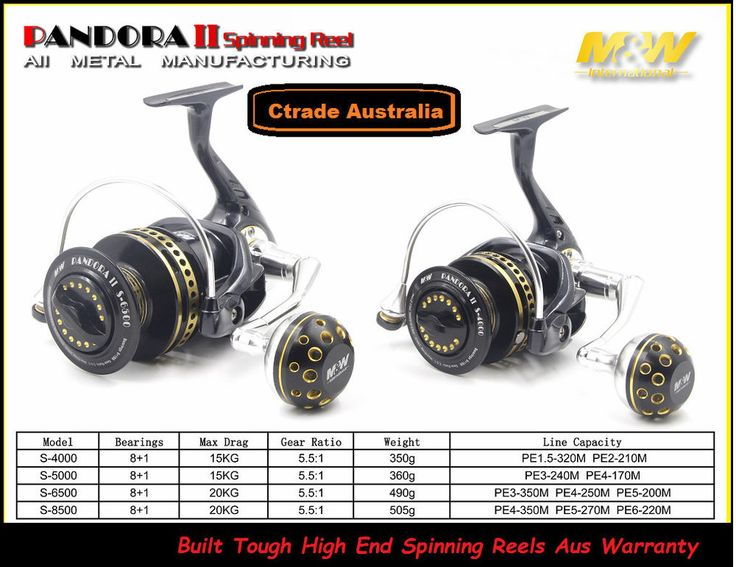 Spinning Reels High End M&W Pandora Spinning Reels 4000 - 8500 15-20kg Drag A1