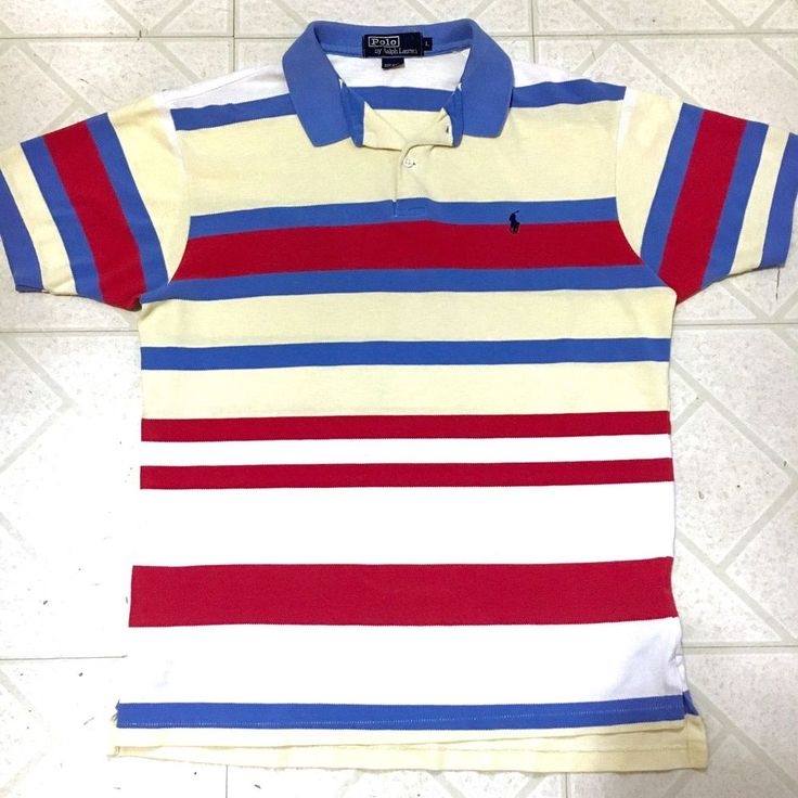 VTG Men's Polo Ralph Lauren Striped SL Shirt Beige Red Blue Short Sleeve Rugby   Clothing, Shoes & Accessories, Men's Clothing, Casual Shirts   eBay!