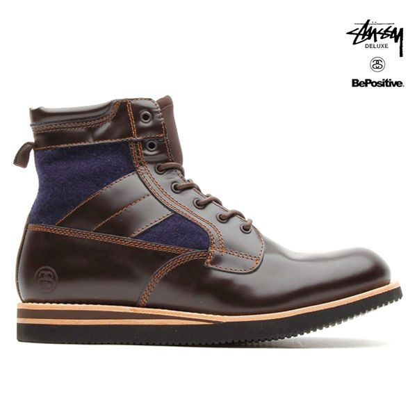 BePOSITIVE x Stussy DELUXE ARMY LEATHER/WOOL SNEAKERS/ BOOTS SIZE US8.5(