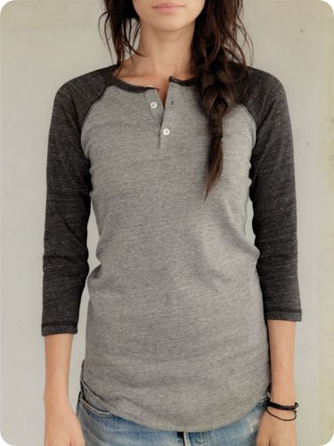 Women's Long Sleeve | 3/4-Sleeve Raglan Henley | Alternative Apparel