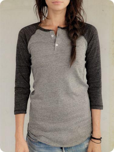 Women's Long Sleeve   3/4-Sleeve Raglan Henley   Alternative Apparel