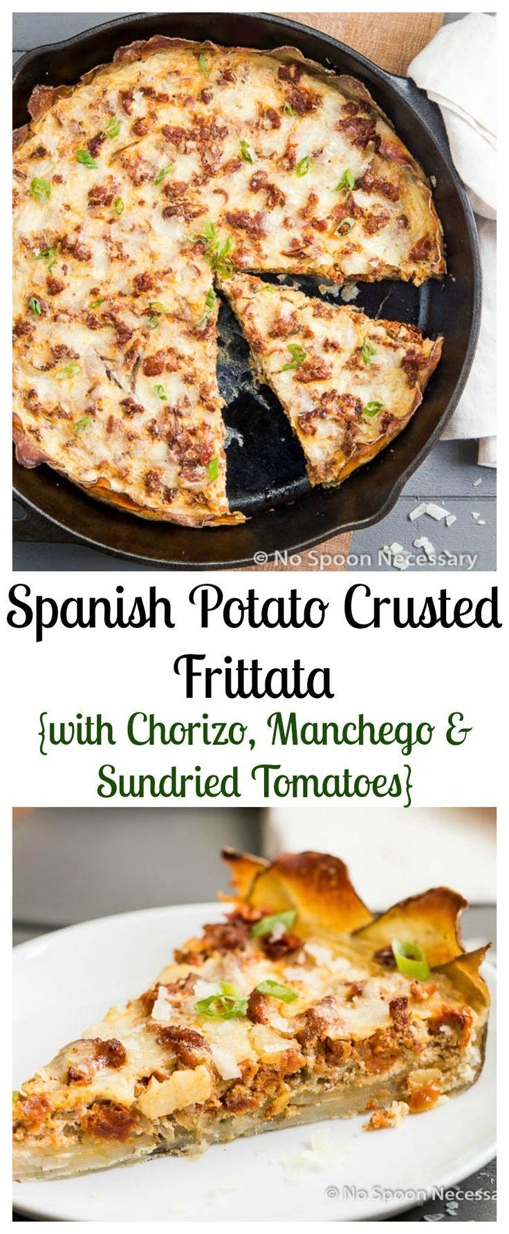 Spanish Potato Crusted Frittata with Chorizo, Manchego & Sundried Tomatoes.  Brunch Done Elegantly!
