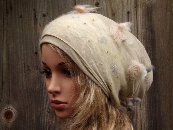 CHAMPAGNE TAM WOMEN Ladies Slouchy Hat Autumn Winter Fashion Beanie Woolen knitwear Hand-entangled Wool Cool Tam Cap Boho Modern Hippie