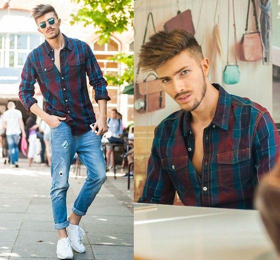 チェックシャツ×X-CAPEジーンズ×asicsゲルライト3白