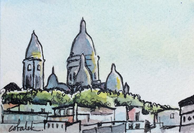 Paris Montmartre Sacre Coeur Cathedral watercolour and ink painting by Christy Obalek.  ACEO size (trading card): 2.5x3.5""
