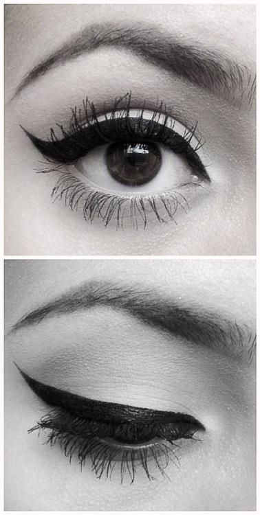 The perfect eye lined eyes. Looks like Audrey Hepburn. Perfect brows as well