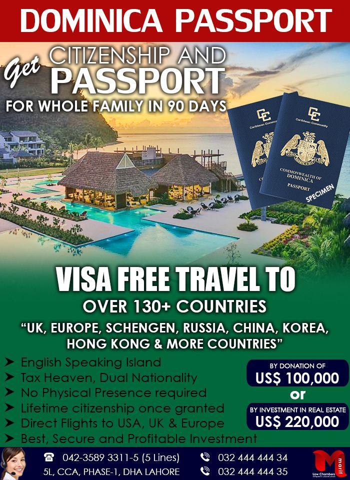Get Dominica Passport Free Travel Educational Consultant Business Visa