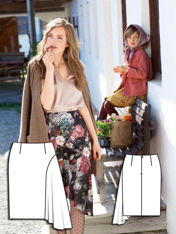 asymmetrical godet skirt