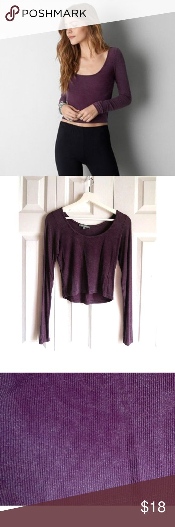 AEO Ribbed Ballet Crop Top No trades! Super cute and soft long sleeve fitted ribbed ballet crop top - Don't Ask Why by American Eagle. Beautiful maroon color. Intentional worn and faded look (purchased like that from American Eagle's website), only worn once or twice. Tag says one size, best fits a medium. American Eagle Outfitters Tops Crop Tops