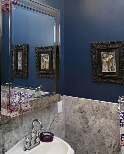 Eclectic Powder Room Idea In Boston With A Pedestal Sink And Gray Travertine  Tiles. #