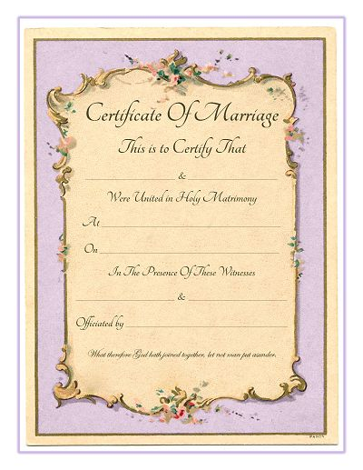 keepsake marriage certificate free printable vintage french