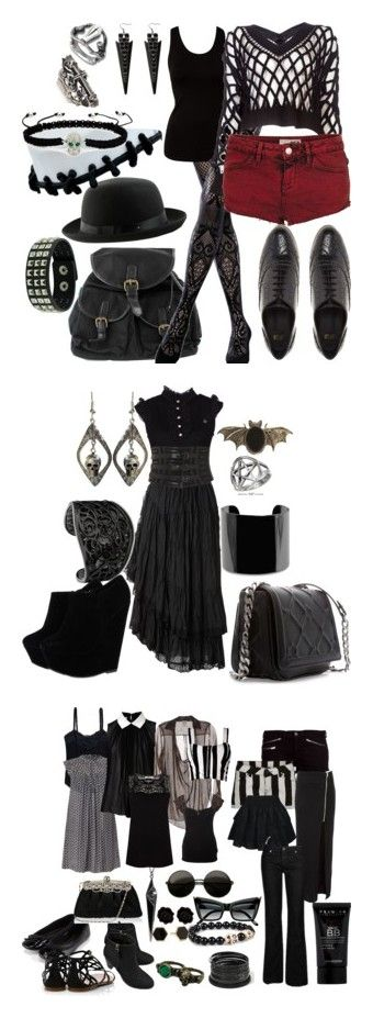 """summer goth ideas"" by izzysaid ❤ liked on Polyvore featuring Emilio Cavallini, VILA, Alexander Wang, Topshop, CO, ASOS, King Baby Studio, Pieces, Juicy Couture and black"