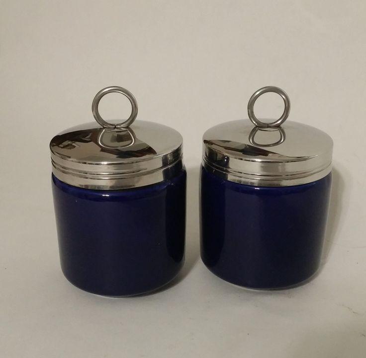 Vintage Pair Porcelain Cobalt Blue Egg Coddler with Lid, Vintage Egg Cup,Vintage Cobalt Blue Egg Poacher, Porcelain Egg Coddler, Egg Poacher by MillysAtticTreasures on Etsy