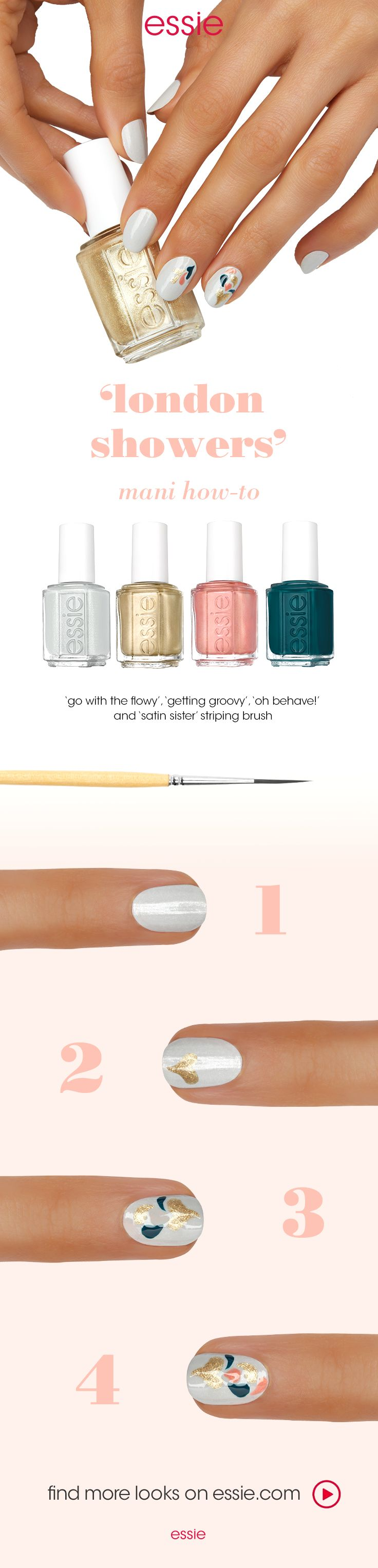 """It's getting groovy with nail art featuring the essie winter 2016 collection. Get this look:  step 1: after a thin layer of essie base coat, apply two coats of dove gray nail polish 'go with the flowy'.  step 2: using a striping brush, create a heart-shaped """"droplet"""" at the tip of the nail using metallic gold 'getting groovy'.  step 3: continue to add single droplets using peacock blue 'satin sister', 'getting groovy', and 'oh behave!' creating a fluid & natural shape. seal with essie top…"""