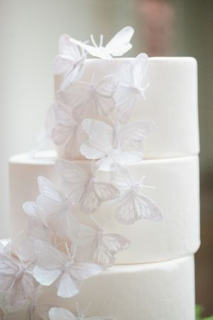white wedding cake with white butterfly detailing by CupcakeCachet.com // photo by RyanPricePhoto.com