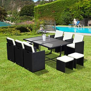 11pc Rattan Dining Set Garden Furniture Wicker Patio Conservatory Table  Chairs