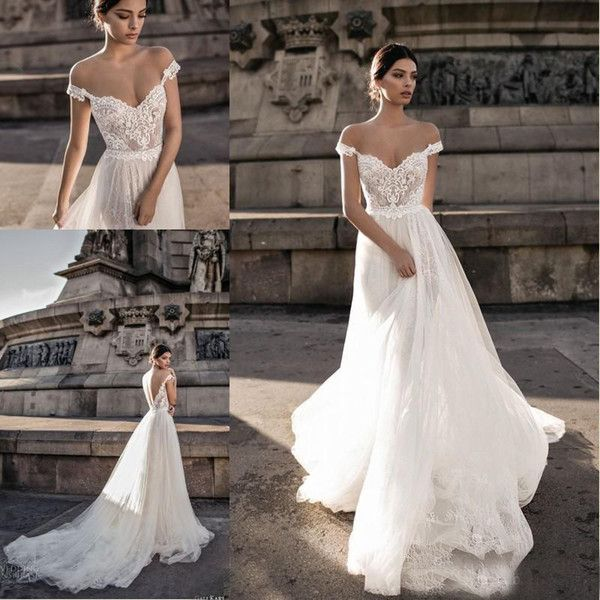 Discount 2018 Gali Karten Bohemian A Line Wedding Dresses Off The Shoulder Sheer Lace Tulle Sweep Train Bridal Gowns Designer Wedding Gowns Gorgeous Wedding Dresses From Loveweddingmade, $117.59| DHgate.Com