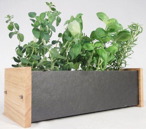 Windowsill herb and flower planter trough oak and slate Kitchen windowsill herb pots