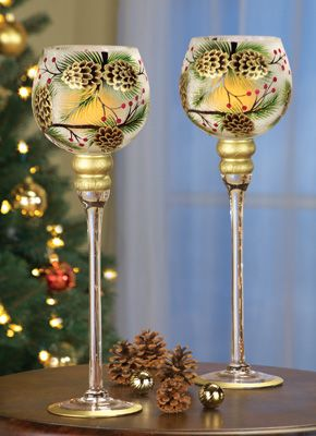 Pinecone Long Stemmed Candle Holder