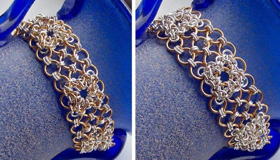 Snowflake chainmaill bracelet. Silver plated – gold plated – copper – sterling silver – Bracelet