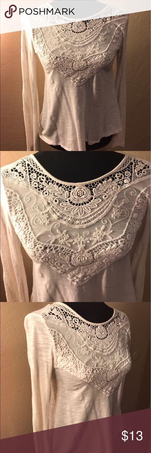 • xhilaration crochet womens long sleeve blouse • Beautiful NWOT cream colored crochet long sleeve from Target. No flaws Xhilaration Tops Tees - Long Sleeve