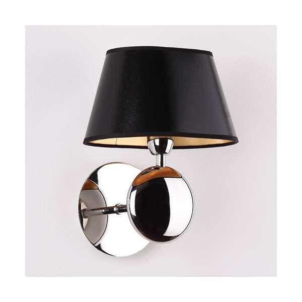 Abażurowa OPRAWA KINKIET metalowa LAMPA ścienna NAPOLEON W Maxlight W0120 chrom czarny złoty Lampy ścienne / kinkiety - MLAMP.pl