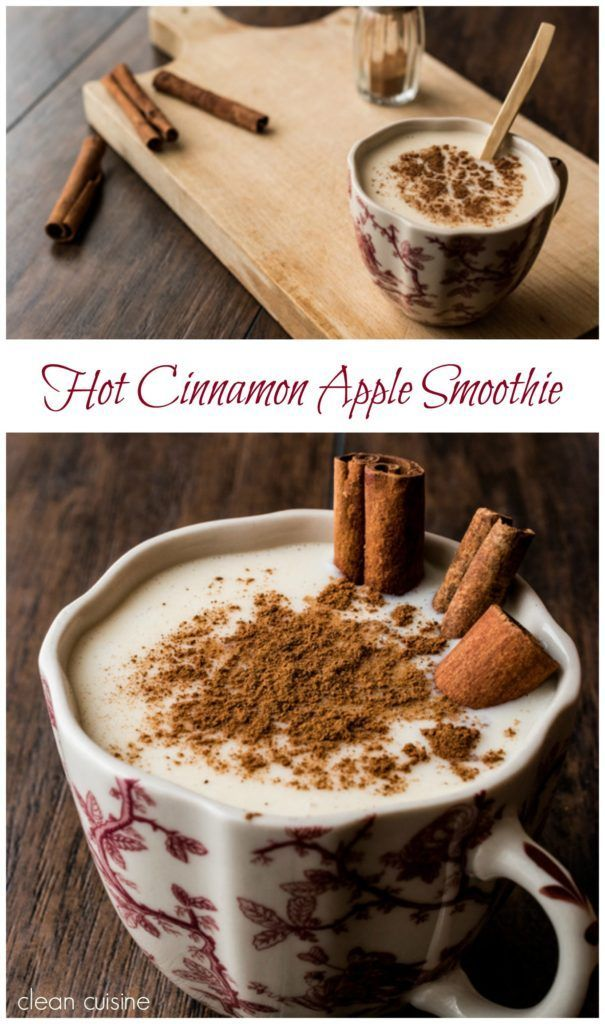 Cold outside? This Hot Cinnamon Apple Smoothie will warm you up! It's a dairy free, clean eating recipe with no added sugar.