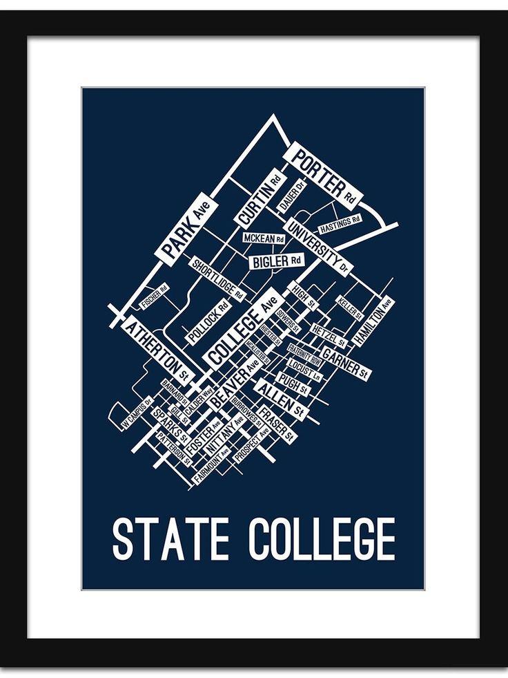 State College, Pennsylvania Street Map Print