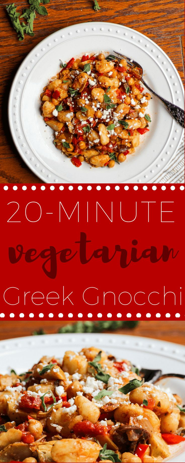 Quick Vegetarian Greek Gnocchi with Artichokes and Chickpeas via @Ally's Cooking