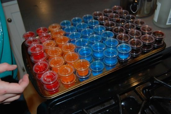 BEST JELLO SHOT RECIPES!!! Recipes for jellow shots of --- Sex on the Beach, Rum and Coke, Lemon Drop, Grape Crush, Hawaiian, Gin and Tonic, Margarita, Lemon Lime, Jaeger Bomb, Orange TicTac, Blueberry, Mimosa, Silk, Fruit Punch, Watermelon, red headed slut -- this site is AWESOME! =)