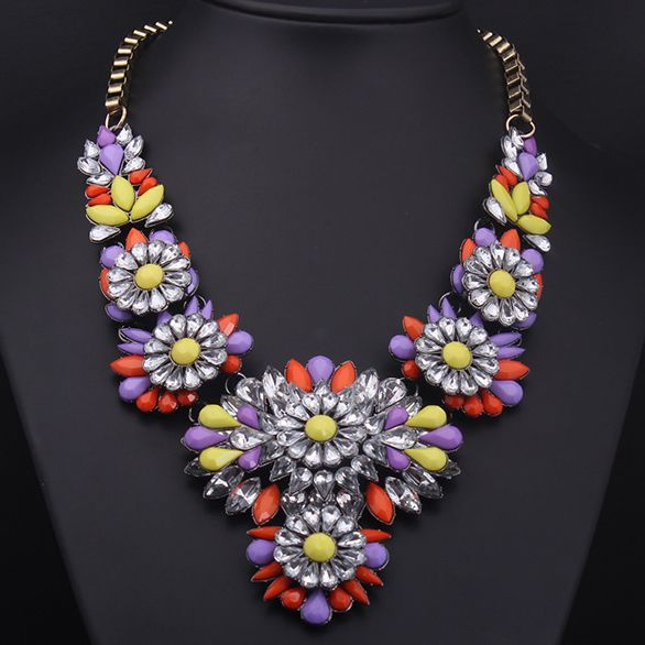 Purple/Red/Yellow Crystal Flower Statement Necklace $85