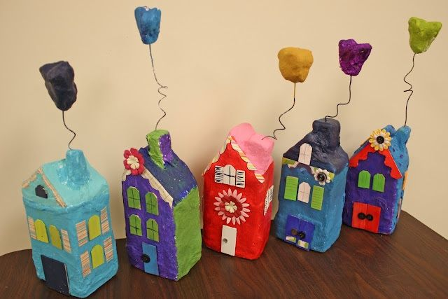 Houses made with milk or juice cartons and wrapped with Art Alternatives Plaster Wrap. So fun! Simply wrap with plaster, allow to dry and paint with your favorite Grumbacher Academy Acrylic paints.