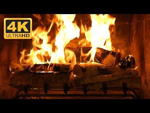 4K Relaxing Fireplace with Crackling Fire Sounds - No Music