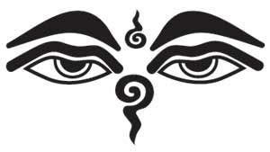 """Wisdom Eyes of Buddha.  Through these eyes one is reminded to look at the world with deep compassion, balancing earth realities with higher consciousness. The spiral at the third eye represents the process of unfolding spiritual awakening, and is represented by primordial energy moving into manifestation. Below the eyes, appearing much like a nose, the reversed symbol is a stylized Sanskrit symbol representing the numeral """"one"""", standing for the unity of all things on earth."""