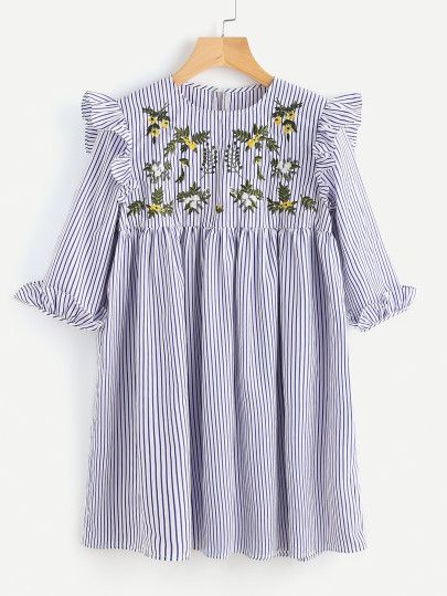 Embroidered Yoke Ruffle Trim Striped Babydoll Dress
