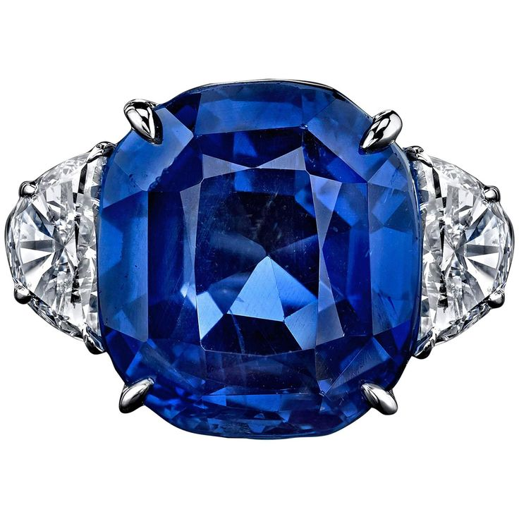 16.33 Carat No-Heat Sri Lankan Sapphire Diamond Platinum Ring | From a unique collection of vintage cocktail rings at https://www.1stdibs.com/jewelry/rings/cocktail-rings/
